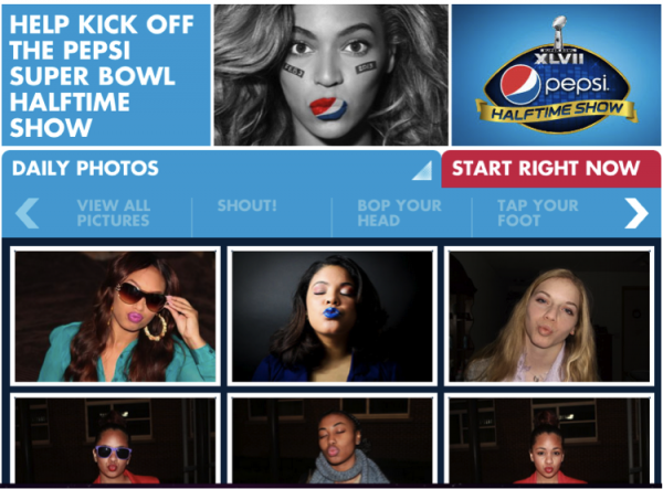 Pepsi asked fans to submit their own pictures to be displayed during the Super Bowl halftime show.