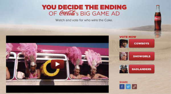Coca Cola puts fans in the driver's seat in the Coke Chase Super Bowl campaign.