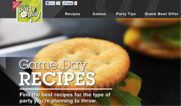 Nabisco published Super Bowl party snack recipes in anticipation for Sunday's game.