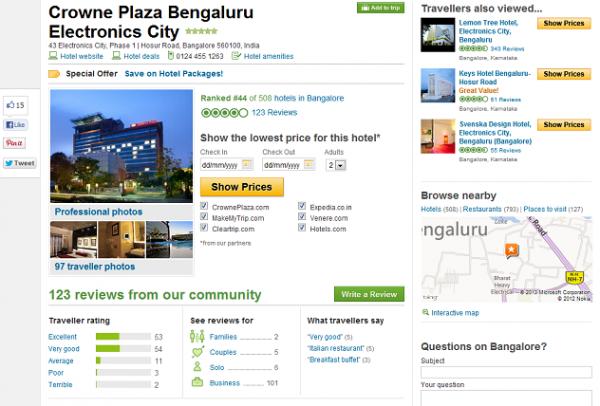 A Hotel Page on TripAdvisor